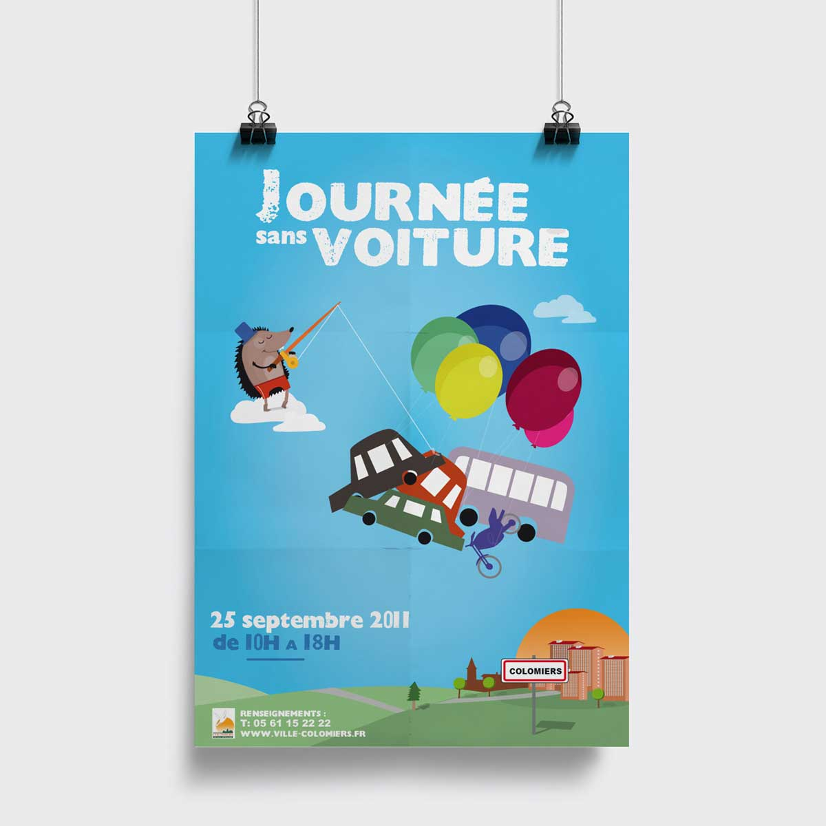 Conception affiche ville de Colomiers voiture