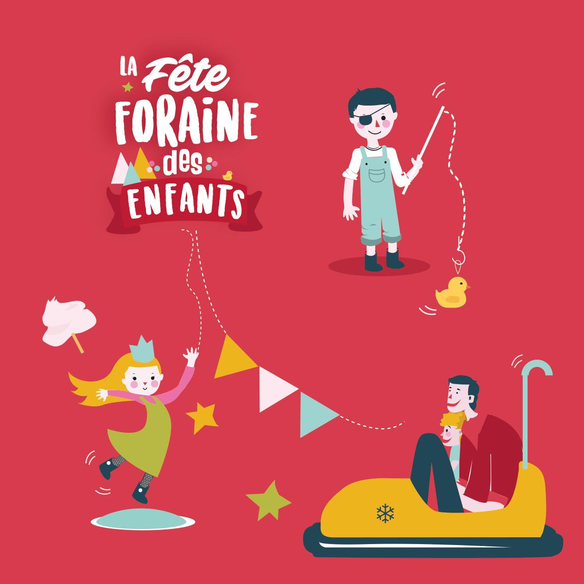 Enfants fête foraine occitanie